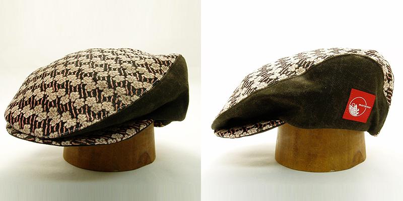 着物生地のハンチング帽