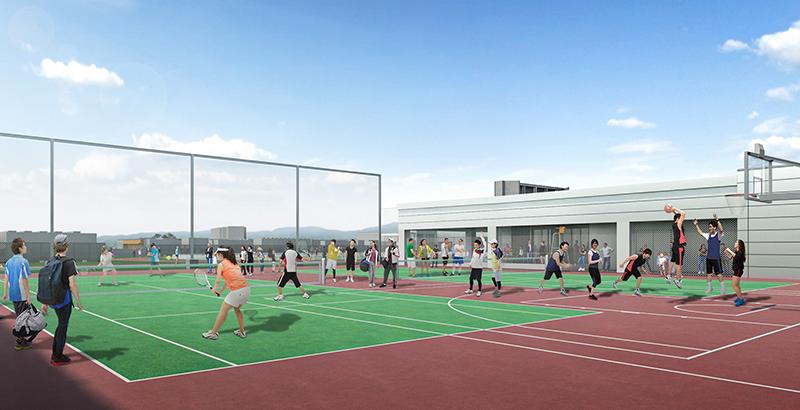 スポーツパーク テニスコート、3x3バスケットボールコート イメージパース