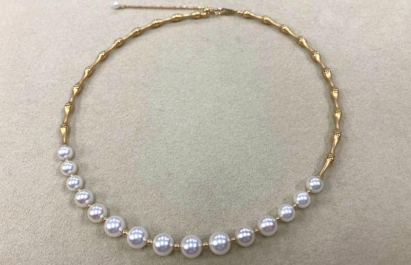 18金 あこや真珠バンブーデザインネックレス